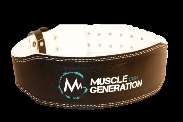 Musclegeneration Gewichthebergürtel schwarz/weiß