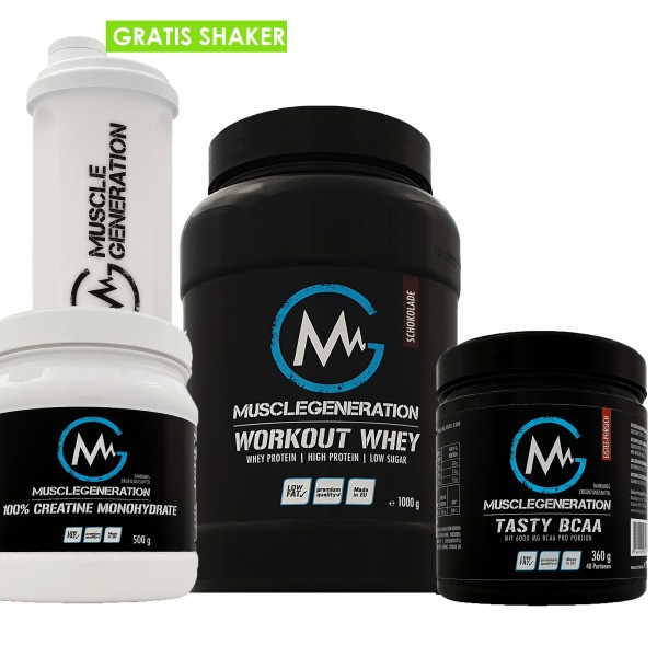 Muskelaufbau Set Musclegeneration | Tasty BCAA | Whey | Creatin | Shaker